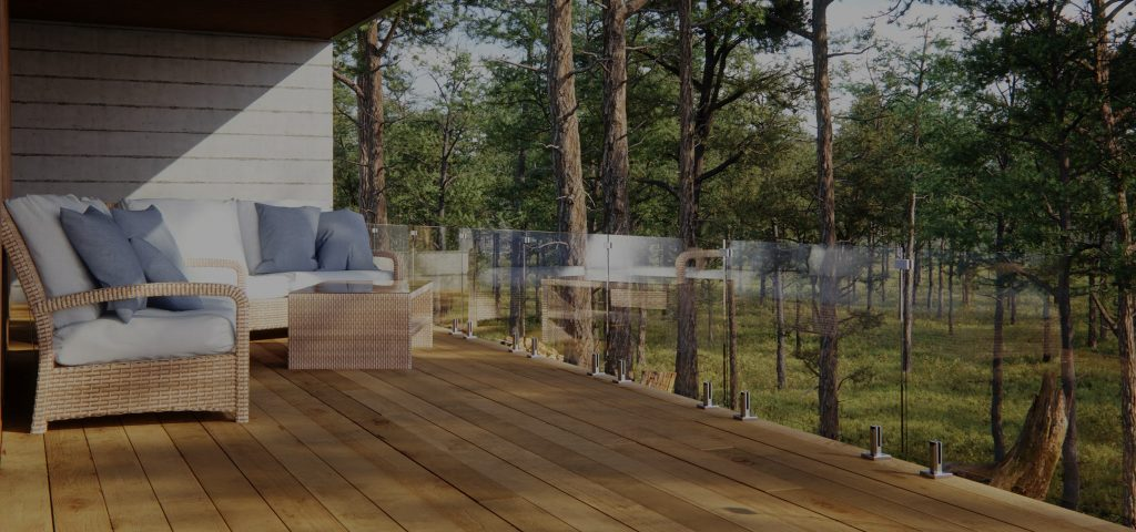 frameless glass railing deck